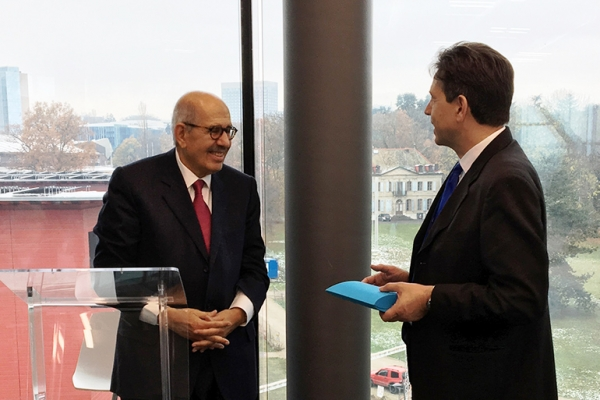 Ambassador Christian Dussey, Director GCSP, thanks Dr ElBaradei for his speech